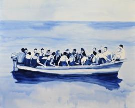 Paolo Naldi, Human Border 2015, olio su lino, cm. 140x112