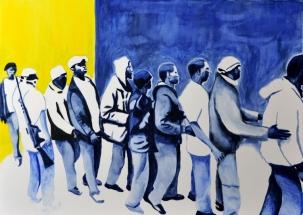 Paolo Naldi, Human Border 2015, olio su mistolino, cm. 70x50