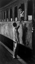 Paolo Naldi, Limbo, 2018, olio su misto lino, cm. 45x80