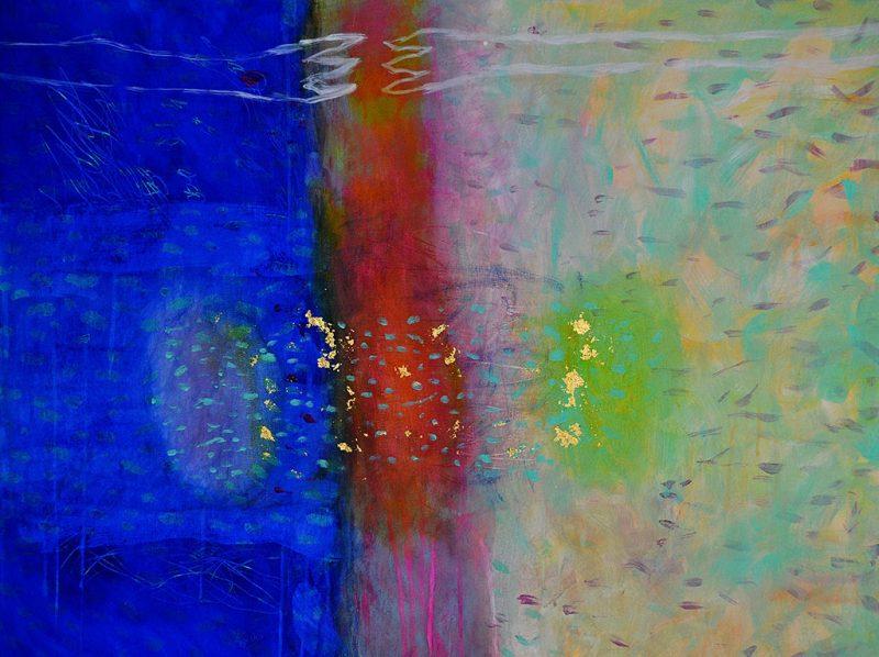 Möge mein Letzter Gedanke HIER an DICH der Erste DRÜBEN sein, wenn ich die Schwelle überschreite, 2018, Öl, Acryl, Blattgold auf Leinwand, 80 x 60 cm