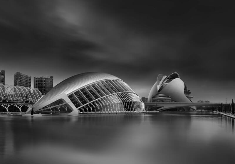 Valencia Hemisferic with water pond by Domenico Masiello