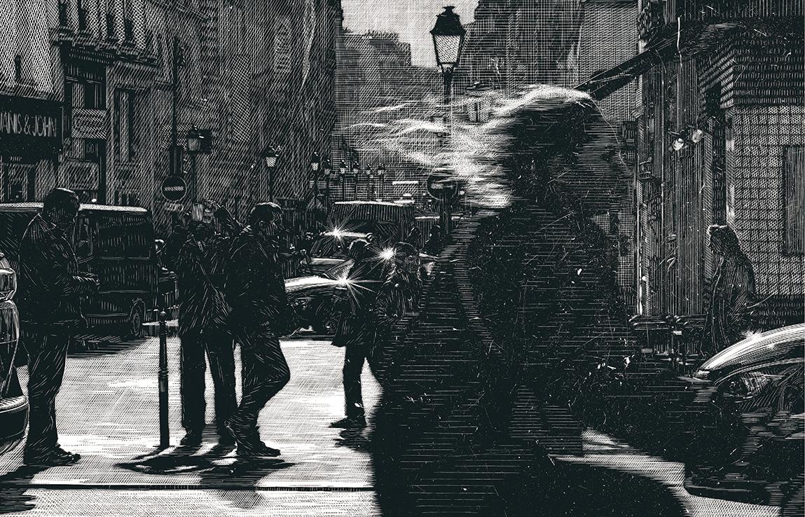 Somewhere in Paris, 2020, linocut, 50,5x 77,5cm